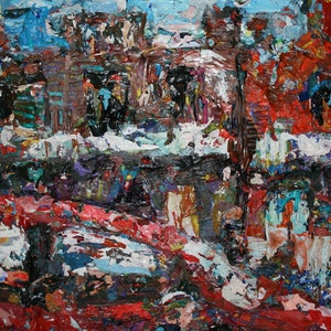 (CreativeWork) Oxford st afternoon by tomas maceiras. arcylic-painting. Shop online at Bluethumb.