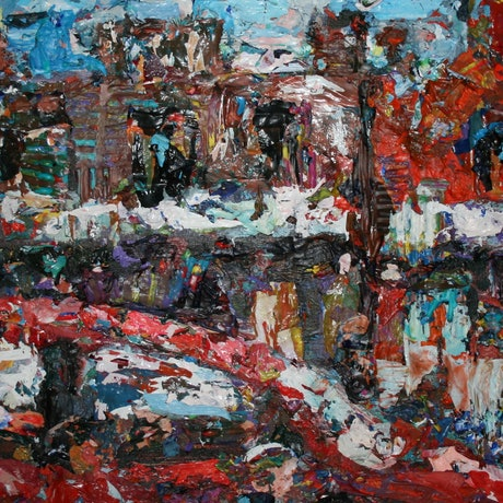 (CreativeWork) Oxford st afternoon by tomas maceiras. Acrylic Paint. Shop online at Bluethumb.