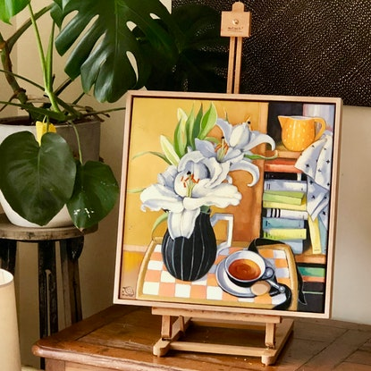 (CreativeWork) (SALE) The orange jug II (framed) by kirsty mcintyre. Oil Paint. Shop online at Bluethumb.