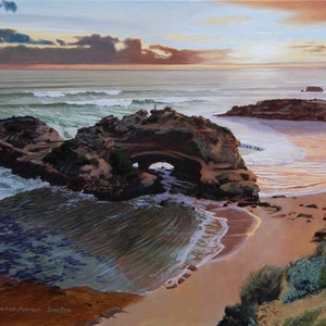 (CreativeWork) London Bridge, Portsea by Lance Ross. oil-painting. Shop online at Bluethumb.