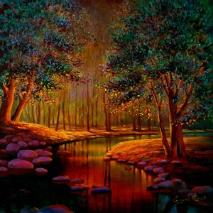 (CreativeWork) Enchanted forest by Eugene Rubuls. oil-painting. Shop online at Bluethumb.