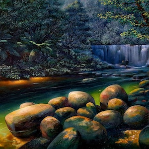 (CreativeWork) Daintree river by Eugene Rubuls. oil-painting. Shop online at Bluethumb.