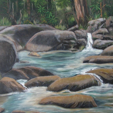 (CreativeWork) Cascade  by Chrissy Dwyer. Acrylic Paint. Shop online at Bluethumb.