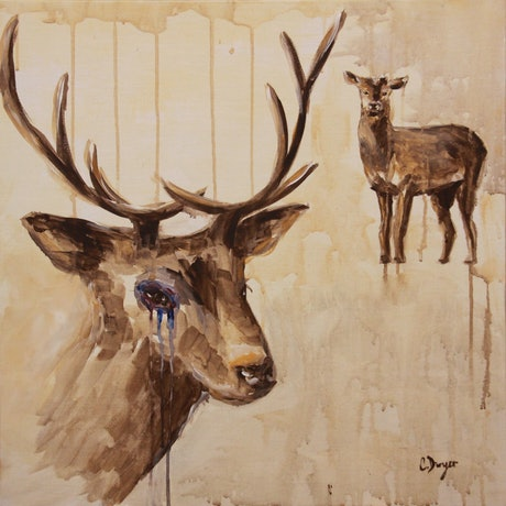 (CreativeWork) Bystander (Deer) by Chrissy Dwyer. Acrylic Paint. Shop online at Bluethumb.