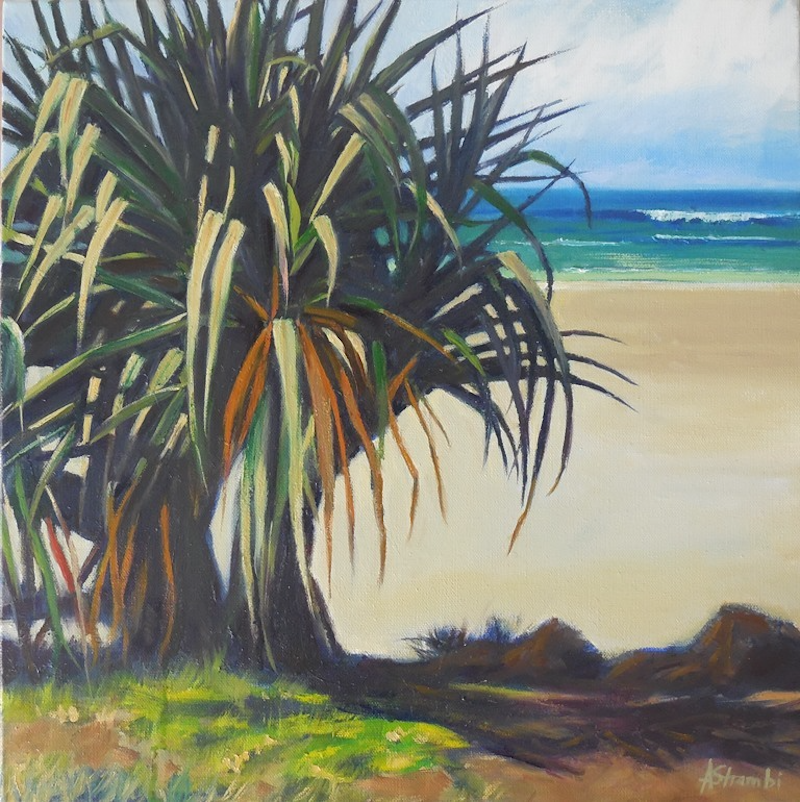 (CreativeWork) Pandanus in sunlight by Anne Strambi. Oil Paint. Shop online at Bluethumb.