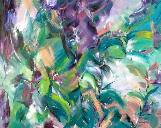 (CreativeWork) Tropical Dream by Amber Gittins. Acrylic Paint. Shop online at Bluethumb.