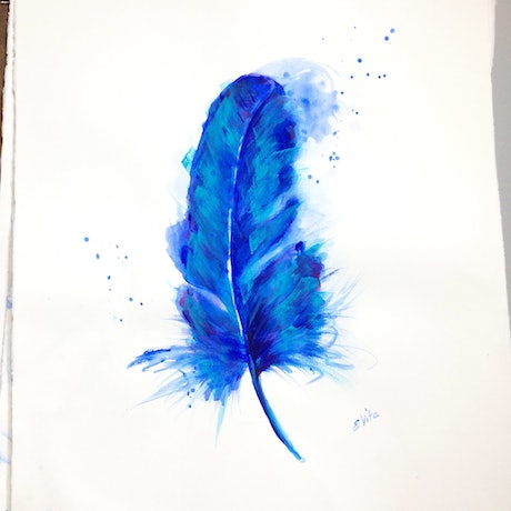 (CreativeWork) Blue Bird Feather B by Elizabeth Vita. Watercolour Paint. Shop online at Bluethumb.