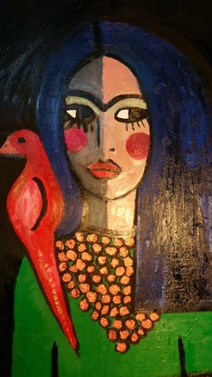 (CreativeWork) Frida with red bird by jane ruggiero. Oil Paint. Shop online at Bluethumb.