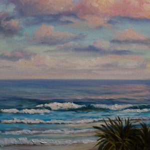 (CreativeWork) Waves at Sunset, Coolum Beach, QLD by Christopher Vidal. oil-painting. Shop online at Bluethumb.