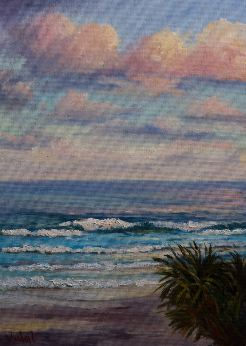 (CreativeWork) Waves at Sunset, Coolum Beach, QLD by Christopher Vidal. Oil Paint. Shop online at Bluethumb.