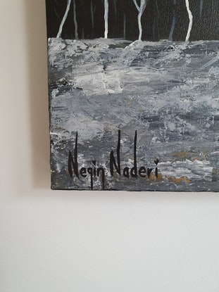 (CreativeWork) Winter's night in the woods  by Negin Naderi. Acrylic Paint. Shop online at Bluethumb.