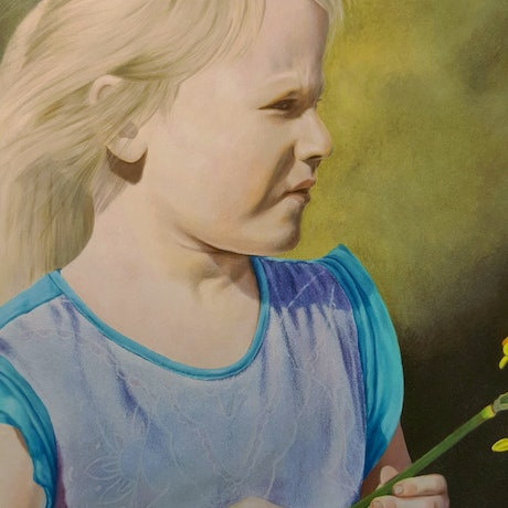 (CreativeWork) Girl with Daffodil by Erin V. Drawings. Shop online at Bluethumb.