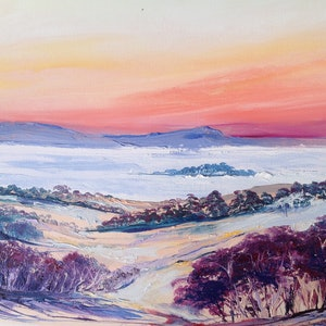 (CreativeWork) Mist Over the Valley by Lesley Rosochodski. oil-painting. Shop online at Bluethumb.