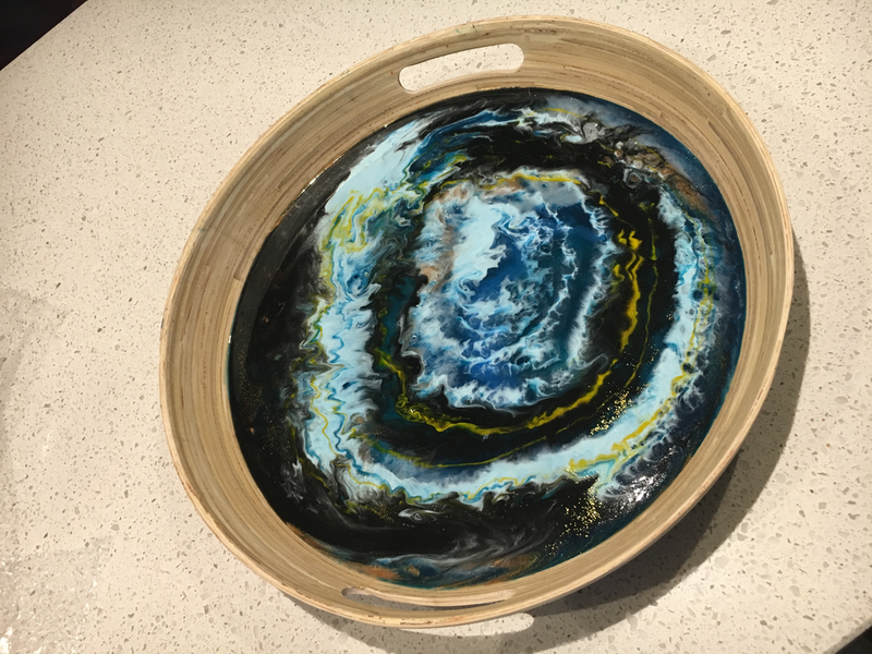 (CreativeWork) Modern Contemporary Designer Resin Round Tray by Liliana Profus. Resin. Shop online at Bluethumb.