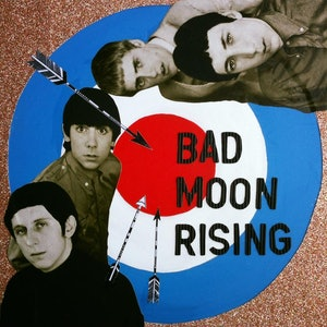 (CreativeWork) I see a Bad Moon Rising - The Who  by Kelly Sullivan. mixed-media. Shop online at Bluethumb.