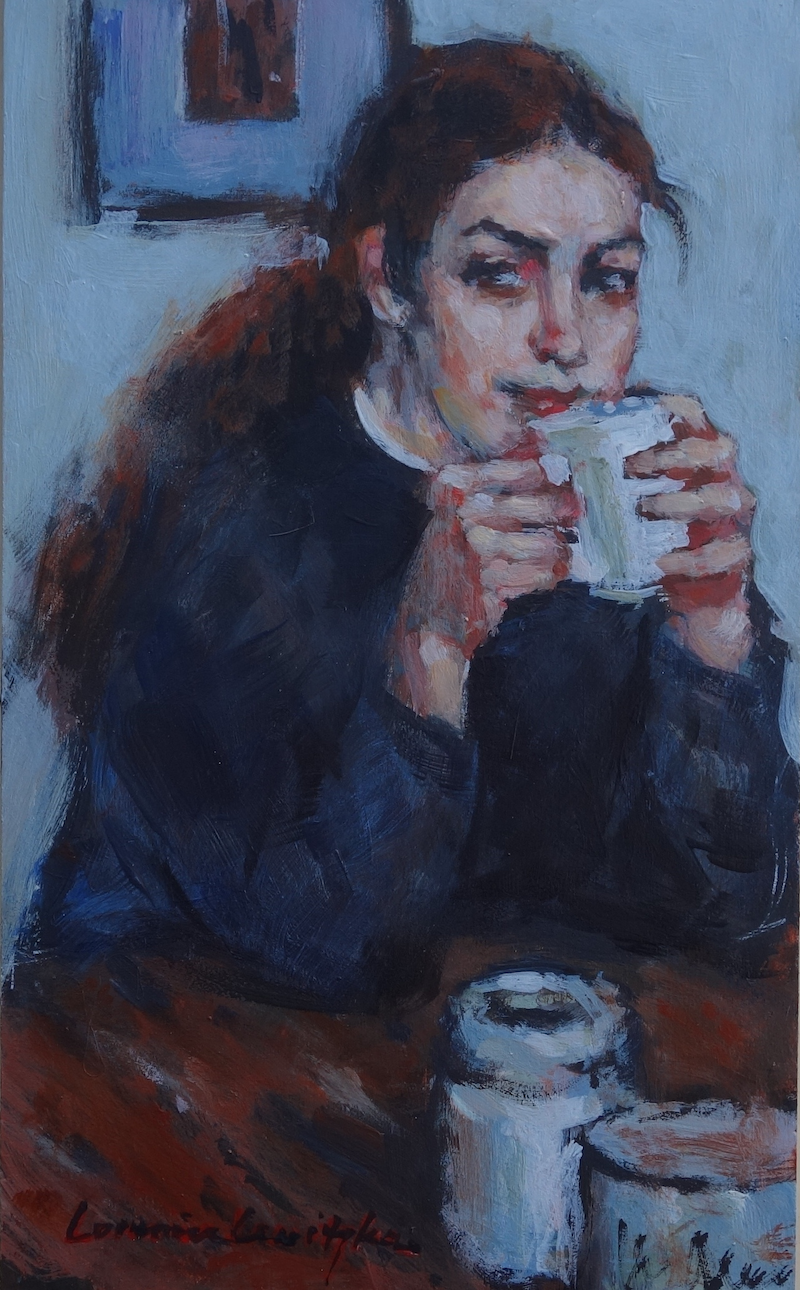 (CreativeWork) Morning Coffee by Lorraine Lewitzka. Acrylic Paint. Shop online at Bluethumb.