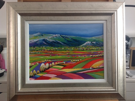 (CreativeWork) QUILTED LANDSCAPE 05 by LOUISE GROVE WIECHERS. Acrylic Paint. Shop online at Bluethumb.