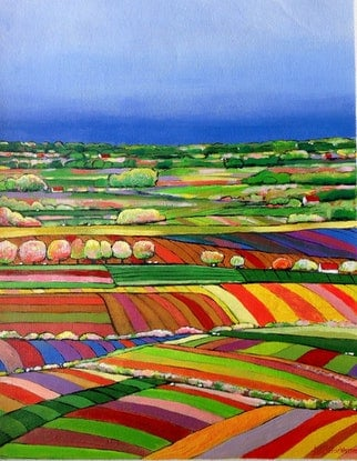 (CreativeWork) QUILTED LANDSCAPE 06 by LOUISE GROVE WIECHERS. Acrylic Paint. Shop online at Bluethumb.