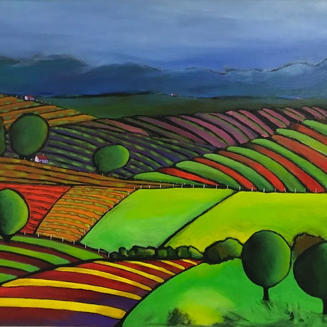 (CreativeWork) QUILTED LANDSCAPE 09 by LOUISE GROVE WIECHERS. Acrylic Paint. Shop online at Bluethumb.
