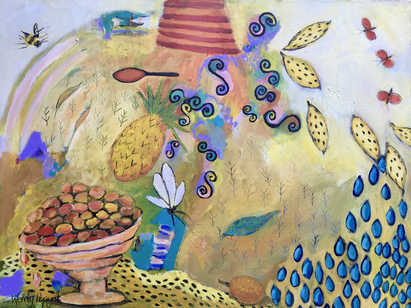 (CreativeWork) Deliciously abundant by Wendy Bache. Acrylic Paint. Shop online at Bluethumb.