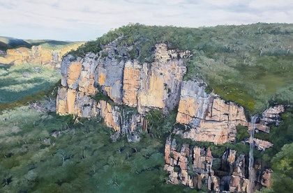 (CreativeWork) Govetts Leap Lookout, Blue Mountains, NSW by M.A. Hobbs. oil-painting. Shop online at Bluethumb.