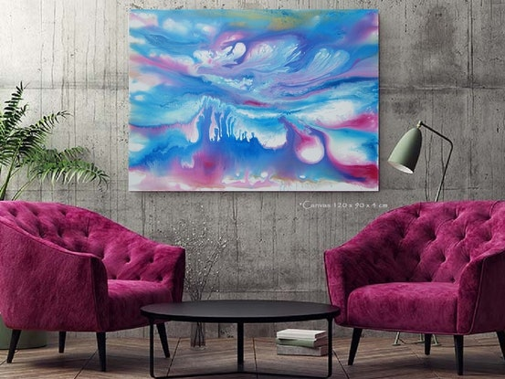 (CreativeWork)  Ocean of Colour - 120 x 90cm  Blue Magenta Teal White Pink Acrylic Abstract Ocean by Desley Wilson. Acrylic Paint. Shop online at Bluethumb.