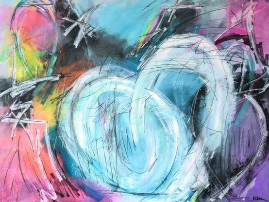 (CreativeWork) Tron by Katie Dobson. Acrylic Paint. Shop online at Bluethumb.