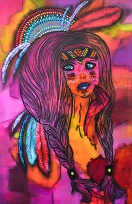 (CreativeWork) Warrior Princess by Katie Dobson. Acrylic Paint. Shop online at Bluethumb.