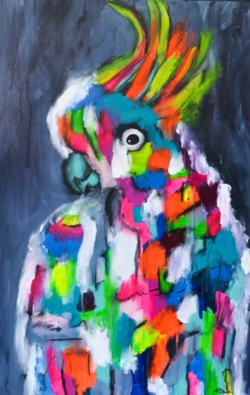 (CreativeWork) Cocky Surprise by Katie Dobson. Acrylic Paint. Shop online at Bluethumb.