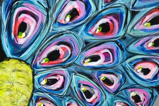 (CreativeWork) Shake Your Tailfeather  by Katie Dobson. Acrylic Paint. Shop online at Bluethumb.