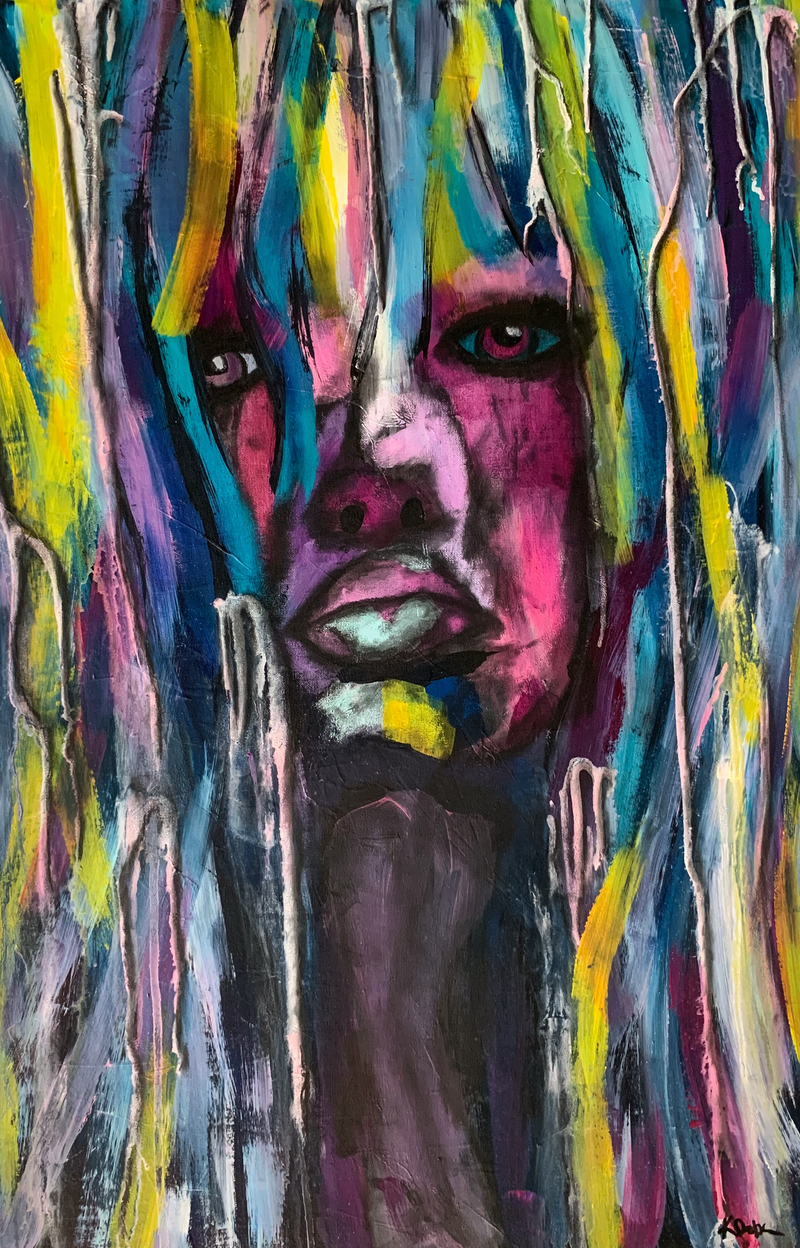 (CreativeWork) Amber by Katie Dobson. Acrylic Paint. Shop online at Bluethumb.