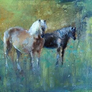 (CreativeWork) the conversation by Trevor Salisbury. oil-painting. Shop online at Bluethumb.