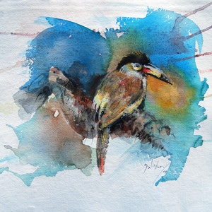 (CreativeWork) Plate-billed mountain toucan by Trevor Salisbury. watercolour. Shop online at Bluethumb.