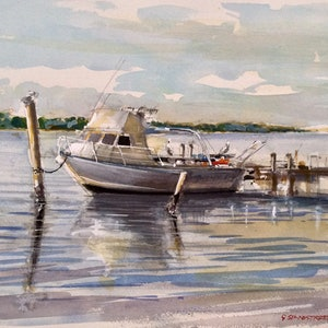 (CreativeWork) Noosa River , Noosaville , Queensland  by Geoff Stanistreet. watercolour. Shop online at Bluethumb.