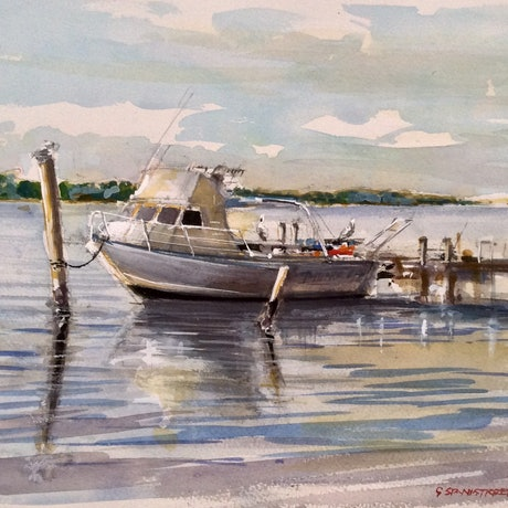 (CreativeWork) Noosa River , Noosaville , Queensland  by Geoff Stanistreet. Watercolour Paint. Shop online at Bluethumb.