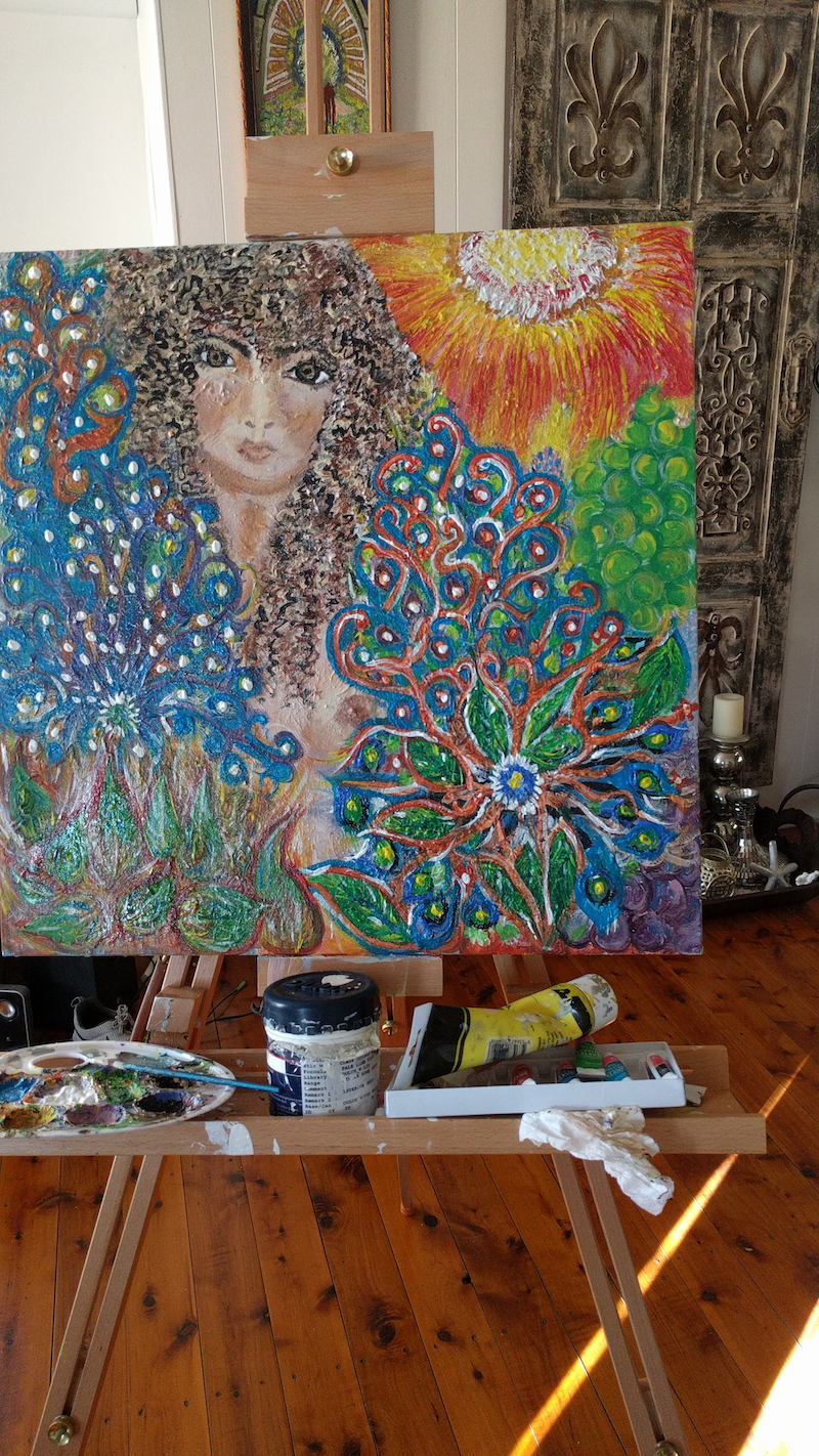 (CreativeWork) Garden of madness by Julie Fogarty. arcylic-painting. Shop online at Bluethumb.