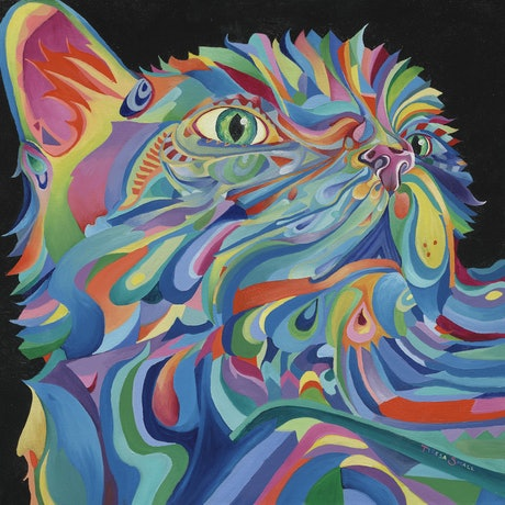 (CreativeWork) Kaleidoscope Cat by Teresa Small. Oil Paint. Shop online at Bluethumb.