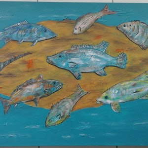 (CreativeWork) Marine Gathering by Lynne Astill. arcylic-painting. Shop online at Bluethumb.