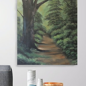 (CreativeWork) Walking in the Forest by Damian Smith. oil-painting. Shop online at Bluethumb.