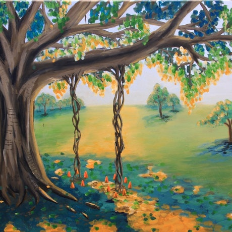 (CreativeWork) Grand Sunset by Chrissy Dwyer. Acrylic Paint. Shop online at Bluethumb.