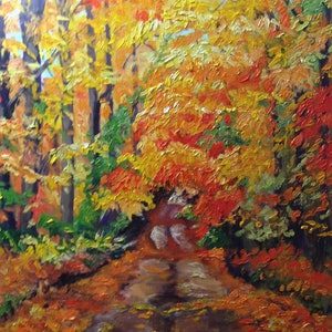 (CreativeWork) Autumn glow by Kathy Nolan. oil-painting. Shop online at Bluethumb.