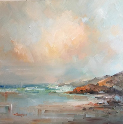 (CreativeWork) Portsea - The Back beach #7 by Liliana Gigovic. Oil Paint. Shop online at Bluethumb.