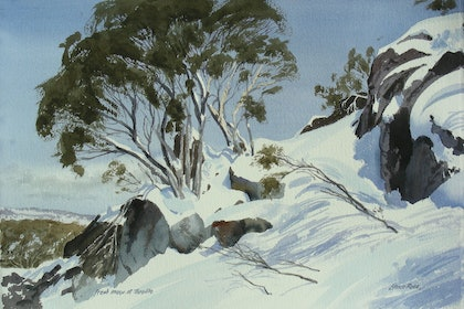 (CreativeWork) Fresh snow, Thredbo by Lance Ross. watercolour. Shop online at Bluethumb.