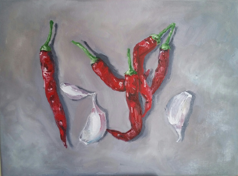(CreativeWork) Peperoncino e aglio by Damon Lucas. Oil Paint. Shop online at Bluethumb.