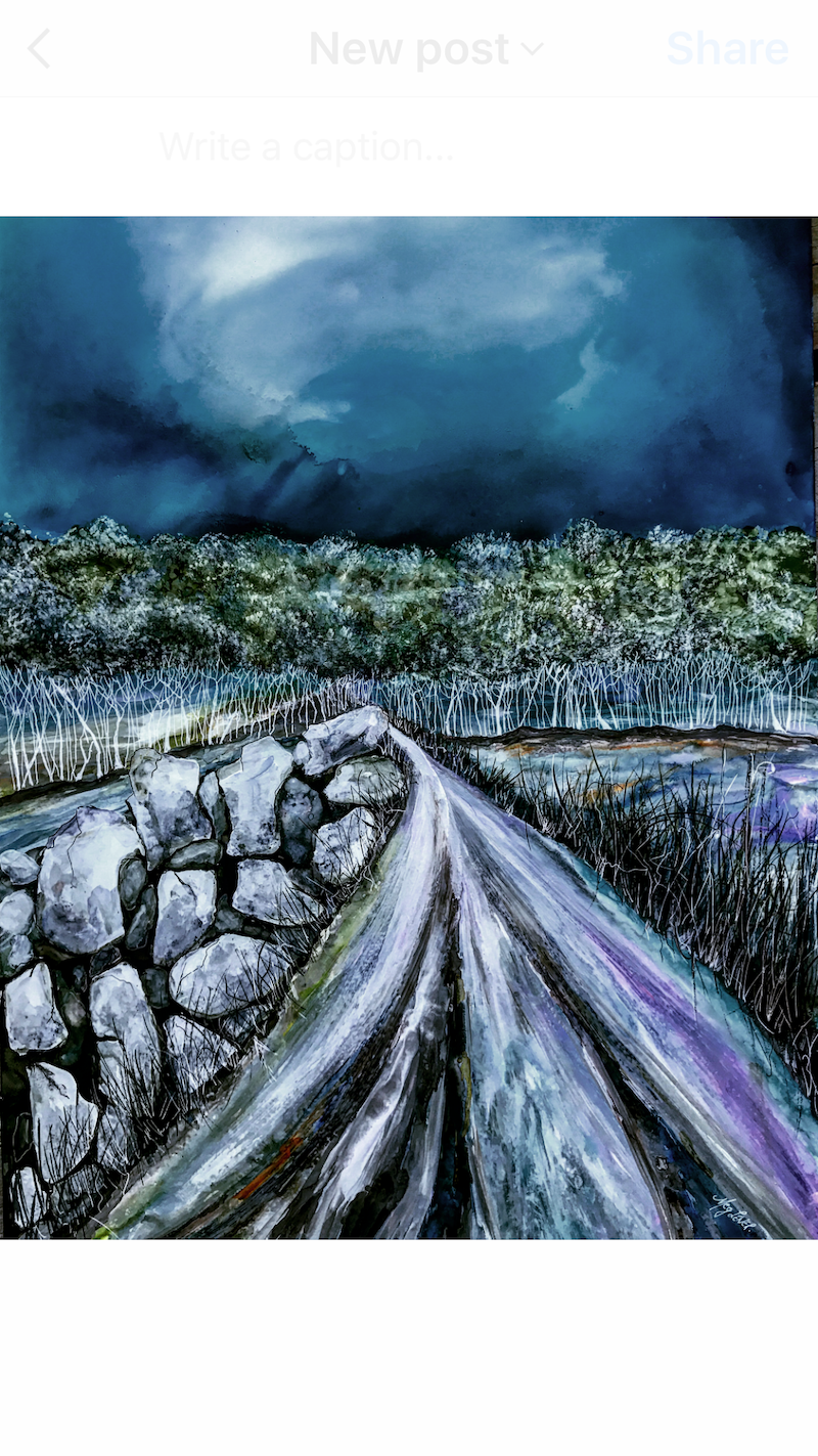 (CreativeWork) A Road Well Travelled.  by Meg Lewer. mixed-media. Shop online at Bluethumb.