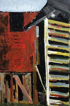 (CreativeWork) Wood shed by Sharon Monagle. Acrylic Paint. Shop online at Bluethumb.