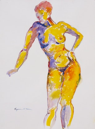 (CreativeWork) Orange Nude Studio Model #1  by Virginia McGowan. Watercolour Paint. Shop online at Bluethumb.