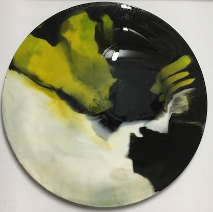 (CreativeWork) Modern Contemporary Design Resin Round  'Black Limestone'  by Liliana Profus. Resin. Shop online at Bluethumb.