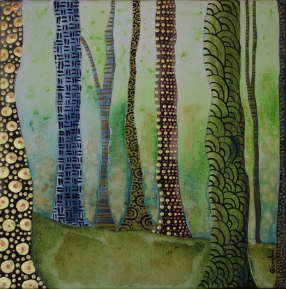 (CreativeWork) The Forest Walk by Ornella Imber. Acrylic Paint. Shop online at Bluethumb.