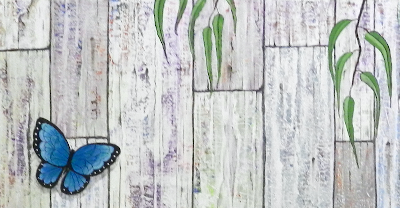 (CreativeWork) Butterfly on Fence .        Just reduced  by Dianne Delandro. arcylic-painting. Shop online at Bluethumb.